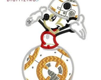 Star Wars BB8 Mickey - 4x4, 5x7 and 6x10 in 7 formats - Applique - Instant Download - David Taylor Digitizing