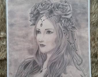 Lady & Roses - Fantasy A3 Prints - Art by Sabrina Gaudare