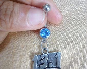 Half Marathon Dangle Belly Ring, Fitness Belly Ring, Charm Belly Ring, Customized Navel Barbell, 14g Belly Ring, Navel Bar, Body Jewelry
