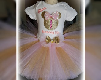Minnie Mouse Tutu Outfit/ Pink & Gold
