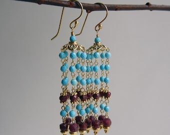 Turquoise and Ruby Mohana I Earrings