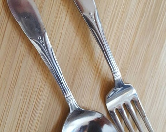 Vintage Stainless Steel TULIP Baby Spoon & Fork Set of 2, Japan