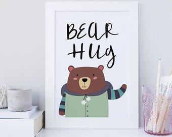 Bear Hug A4 Print