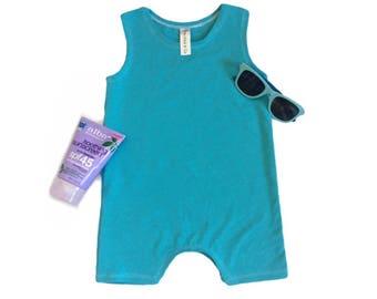 Aqua Short Romper | summer romper, harem romper, baby onesie, solid romper