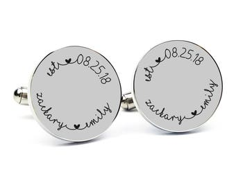 Custom Gift for Groom From Bride Personalized Cufflinks Custom Name Engraved Cufflink Round Cufflink Cuff link Gift for Him Anniversary Gift