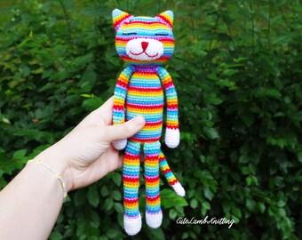 Haak Amineko kat kat, regenboog kat, amigurumi haak kat haak, haak knuffeldier, gehaakte dieren, gehaakte knuffel, zachte speelgoed