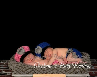 Newborn Baby Police Hat and Diaper Set, Crochet, Custom Made, Photo Prop, Photography Prop, Baby Shower Gift, Cop, Policeman hat, Sergeant