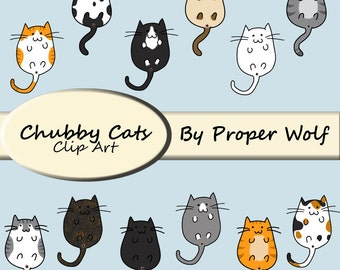 Chubby Cats Clip Art - Cat Breeds Clipart - Cat Digital Stamps - Cute Kitten PNG JPG - Cat Butt Art