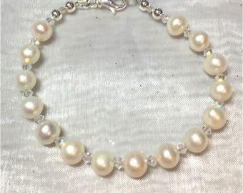 Freshwater Pearl & Crystal Clear Ab Bracelet #483