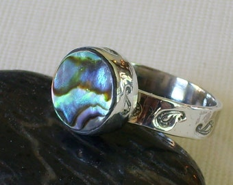 Abalone Ring Paisley Stamped Round Bezel Set Abalone Shell ring Shell Jewelry