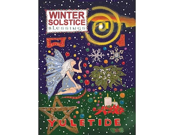 Winter Solstice Yuletide Colourful Pagan Fairy Greeting Card