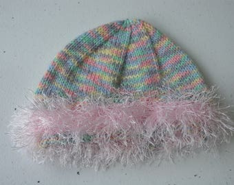 Pastel rainbow beanie with pink furry band for baby girl 3-6 months old