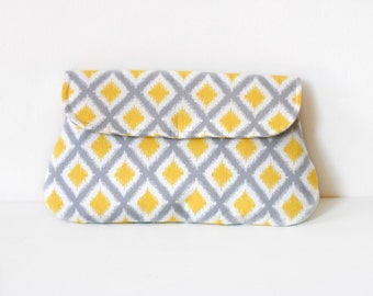 Ikat clutch in yellow and grey, simple bridesmaid clutch, bridesmaid gift, diamond ikat pattern