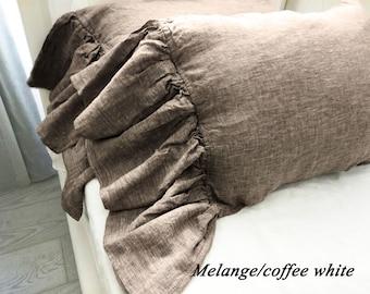 Linen pillow shams,ruffled pillow shams,linen pillowcase with long ruffles,linen bedding,linen pillow case with ruffles,melange pillowcase
