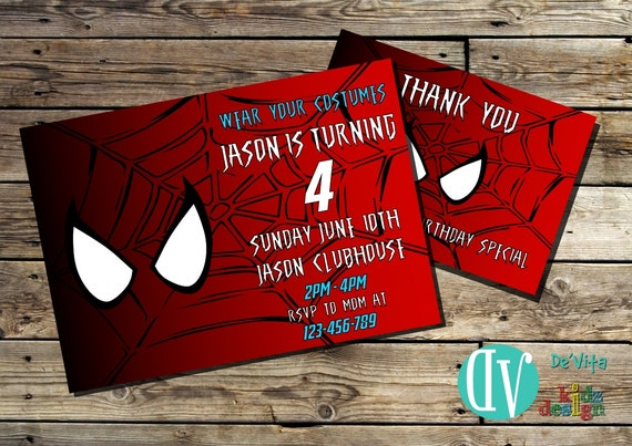 Spiderman birthday invitation printable 5x7 or 4x6 and free filmwisefo