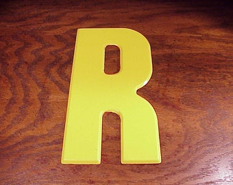 Vintage Yellow Letter R 10 Inches Tall Metal Store Marquee Sign, Capital Letter, Craft Supply, Art Project