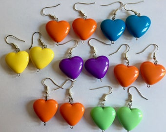 7 pairs of Kitsch Dangling HEART  Shape Earrings / Valentine's Pastels