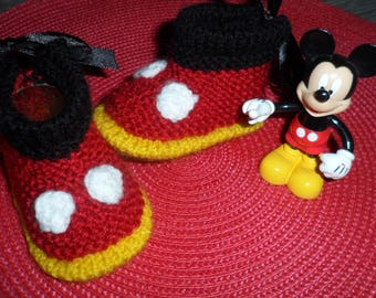"""""""Mickey"""" (0-3 months) wool baby shoes"""