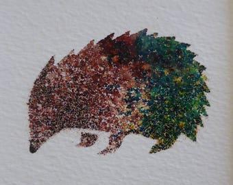 hedgehog art, hedgehog, hoglet, wildlife,  stencilled, ink, brusho,
