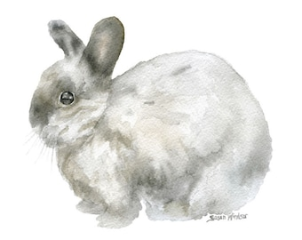 Gray Bunny Rabbit Watercolor Painting - 6 x 4 - Giclee Fine Art Print - landscape orientation