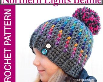 Crochet Hat Pattern - Northern Lights Pom Pom Hat Crochet Pattern - Crochet Beanie Pattern - Child Sizes