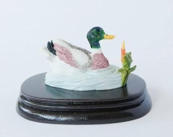 Vintage 1990's Regency fine arts Mallard duck ornament wooden base. Water foul, mallard duck figurine, decor, collectibles, gift ideas.
