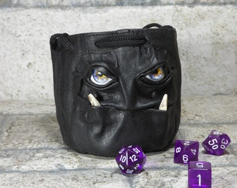 Dice Bag Marble Bag Fairy Pouch With Monster Face RPG LARP Drawstring Bag Rune Bag Magic The Gathering Gamer Gift Black Leather 832