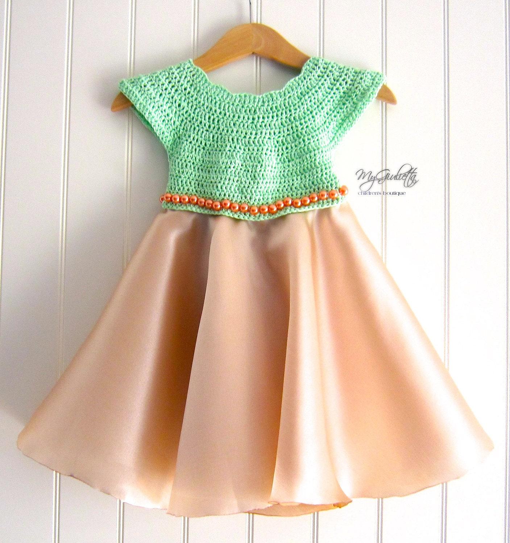 Baptism Dress for Baby Girl Baby Crochet Gold Satin Girl Dress