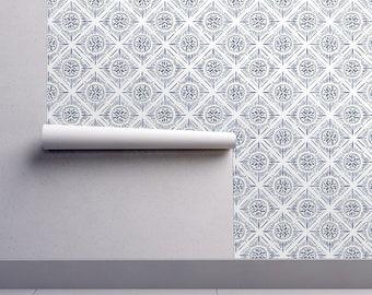 Diamond Sunburst Wallpaper - Diamond Sunburst - Indigo By Jillbyers - Custom Printed Removable Self Adhesive Wallpaper Roll by Spoonflower