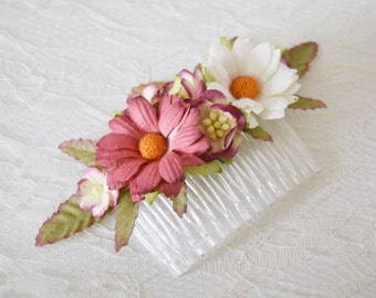 Dusky Pink Flower Comb, pink bridal floral comb, bridal hair accessory, bridal headpiece, bridesmaid, pink headpiece - MIA