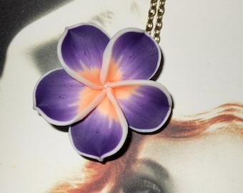 Hibiscus Necklace, Polymer Clay Flower, Purple Tiki Flower, Rockabilly Jewelry, Purple Flower Pendant, Tiki Jewelry, Large Purple Flower,