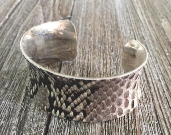 SALE 1 WEEK ONLY Exotic Leather Cuff Bracelet for Women -- Natural Snakeskin