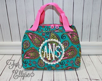 Paisley Lunch tote, Monogrammed lunch bag