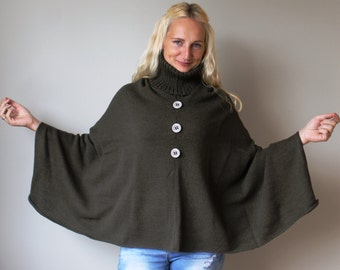 Wool Poncho Coat with collar / Women Cape Coat / wool Poncho Coat Long Sleeve Trench Coat Wool Vest