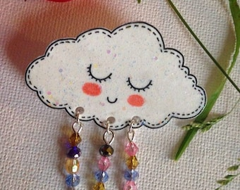 "Glitter cloud brooch ""Singing in the rain"""