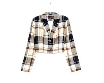 ELLEN TRACY 90s crop top CLUELESS blazer jacket cropped jacket frayed raw hem pale yellow black plaid preppy 90s y2k grunge schoolgirl