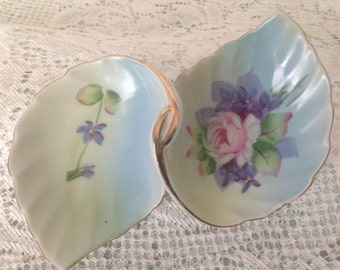 Lefton Double Leaf Hand Painted Nut Candy Trinket Dish with a Pink Rose and Violets