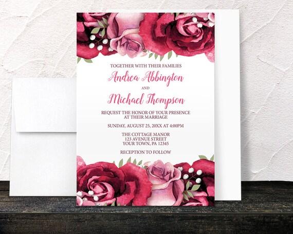 burgundy rose wedding invitations rustic burgundy pink rose