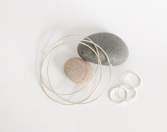 Bangles + Stacking rings set! Set of 3 intertwined bangle bracelets and 3 stacking rings (all of different designs) Delicately organic