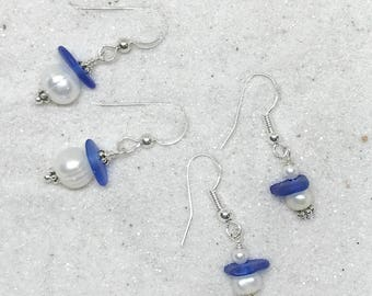 Blue Earrings, Pierced Earrings, Sea Glass Earrings, Blue Sea Glass Earrings, Sea Glass Jewelry, Beach Jewelry, Lake Erie Beach Jewelry