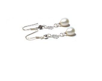 Freshwater Pearl Earrings , Sterling Silver CZ  Earrings , 10MM White Freshwater Pearl