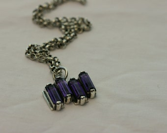Silver Necklace,  Amathist  Pendant , Silver Pendant , 925 Sterling Silver Pendant