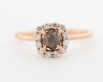 Raw Diamond Ring, Rough Diamond Ring, Diamond Halo Engagement Ring Set in 14kt Rose Gold - Raw Diamond Ring - Uncut Diamond - 14kt Gold
