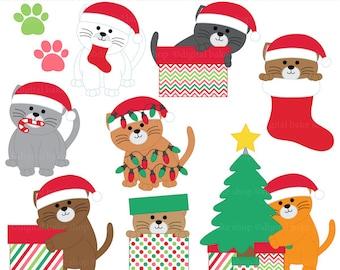 christmas clipart clip art kittens cats - Christmas Kittens Digital Clip Art - BUY 2 GET 2 FREE