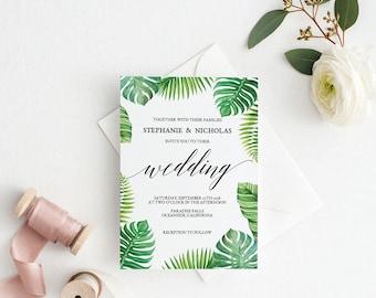Tropical Wedding Invitation Template, Mr Mrs Wedding Invitation Printable, Vintage Invitation, Cheap Invitation,PDF Instant Download #E027
