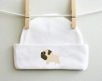 Pug baby cap or Pugs with heart baby cap, baby boy cap, baby girl cap, infant beanie