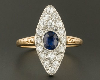 Antique Diamond & Sapphire Ring | Antique Sapphire Ring | Antique Diamond Ring | 14k Gold Ring | Navette Ring