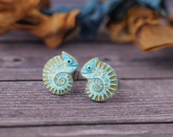 Little Chameleon Stud Earrings Lizard Chameleons Earrings 3 Glossy