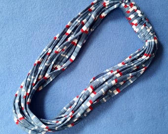 Red White and Blue Recycled T-shirt Infinity Scarf Necklace - upcycled tshirt scarf tarn tshirt yarn