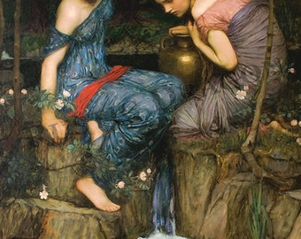 """John William Waterhouse """"Nymphs finding the Head of Orpheus"""" 1900 Reproduction Digital Print  Wicca Pagan Celtic"""